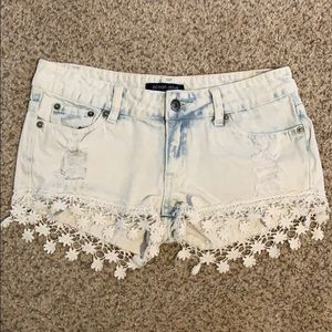 Denim blue & white tie dye shorts